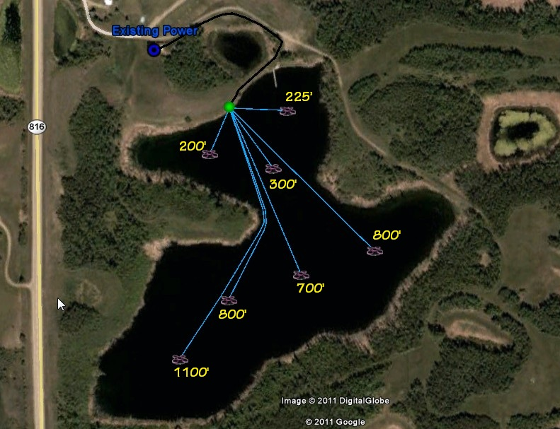 Aerator placement design diagram based on the bathymetrics of a small lake.
